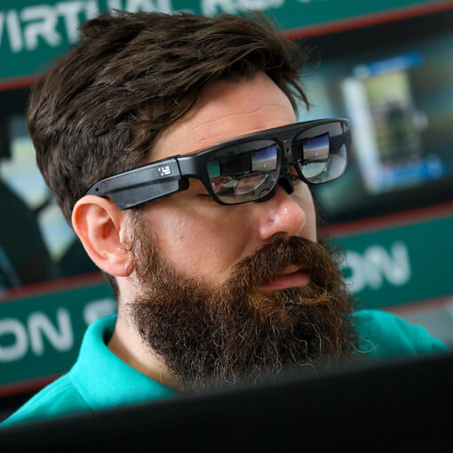 Man wearing virtual reality wearable headset