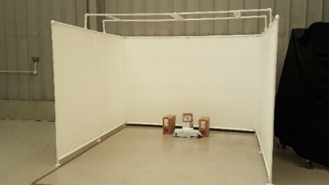 Photo of virtual reality simulation room setup