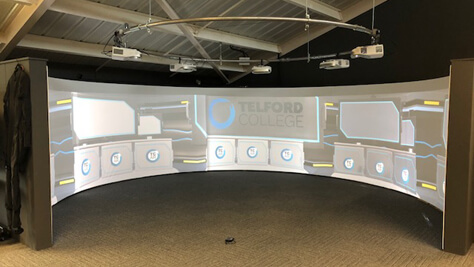 Photo of virtual reality simulation room setup and oparational